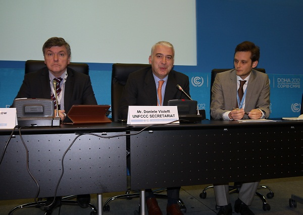 Daniele Violetti, Chief of Staff, UNFCCC Secretariat; Tomasz Chruszczow, SBI Chair; and Moritz Weigel, UNFCCC Secretariat who moderated the event