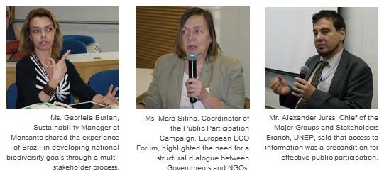 Ms. Gabriela Burian, Sustainability Manager at Monsanto, Ms. Mara Silina, Coordinator of the Public Participation Campaign, European ECO Forum and Mr. Alexander Juras, Chief of the Major Groups and Stakeholders Branch, UNEP