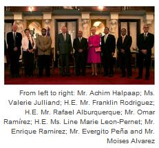 Mr. Achim Halpaap; Ms. Valerie Julliand; H.E. Mr. Franklin Rodriguez; H.E. Mr. Rafael Alburquerque; Mr. Omar Ramírez; H.E. Line Marie Leon-Pernet; Mr. Enrique Ramirez; Mr. Evergito Peña and Mr. Moises Alvarez.
