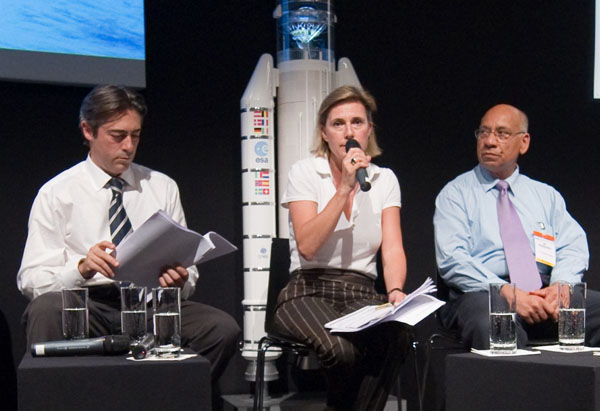 Mr. Surendra  Parashar of the Canadian Space Agency representing the International Space Charter, Simonetta Cheli of ESA, Coordinator of the event, and Francesco Pisano, Manager of UNOSAT.