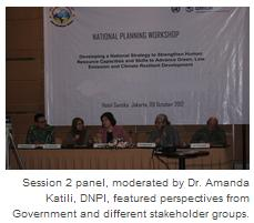 Session 2 panel, moderated by Dr. Amanda Katili, DNPI, featured perspectives from Government and different stakeholder groups.