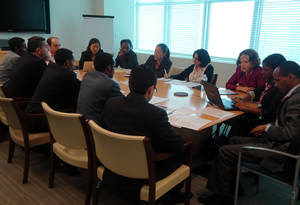 Participants of UNITAR workhop studying how to draft effective UN Resolutions