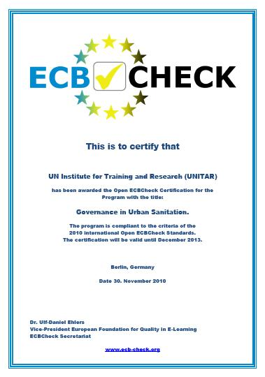 The Open ECBCheck certifies the online course Governance in Urban ...