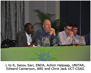 L to R, Secou Sarr, ENDA, Achim Halpaap, UNITAR, Edward Cameroon, WRI and Chris Jack UCT-CSAG