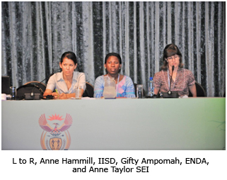 L to R, Anne Hammill, IISD, Gifty Ampomah, ENDA, and Anne Taylor SEI