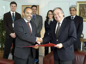 UNITAR Executive Director Carlos Lopes (front left) and the High Commissioner for Refugees Antonio Guterres (front right)