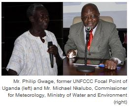Mr. Philip Gwage, former UNFCCC Focal Point of Uganda (left) and Mr. Michael Nkalubo, Commissioner for Meteorology, Ministry of Water and Environment (right)