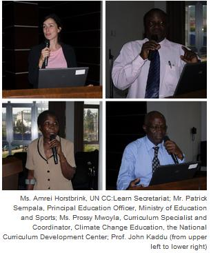 Ms. Amrei Horstbrink, UN CC:Learn Secretariat; Mr. Patrick Sempala, Principal Education Officer, Ministry of Education and Sports; Ms. Prossy Mwoyla, Curriculum Specialist and Coordinator, Climate Change Education, the National Curriculum Development Center; Prof. John Kaddu (from upper left to lower right)