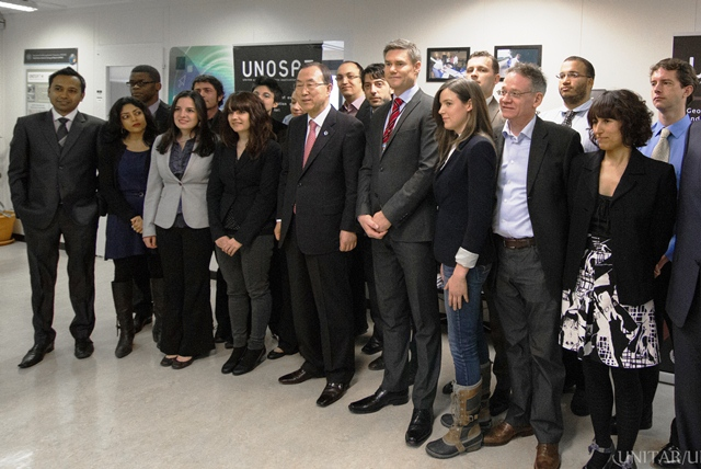 group photo of UNOSAT team with Ban Ki-moon