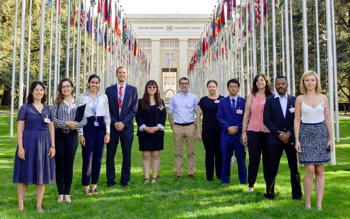Participants of UNITAR's Field Visit to Geneva at the entrance of the Palace of Nations, July 2018