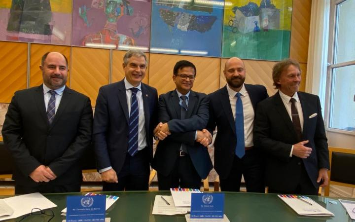 Mr. Carmelo Sanz de Barros, President of RACE and CIFAL Madrid; Mr. Nikhil Seth, UN Assistant Secretary-General and Executive Director of UNITAR; and Mr. Jerry Ingraham, Global Chief Marketing Officer of JOIE, during the signing ceremony
