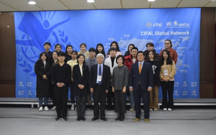 : Participants and speakers during the International Cooperation course in Jeju, Republic of Korea