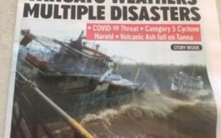 Vanuatu weathers multiple disasters, newspaper's front page