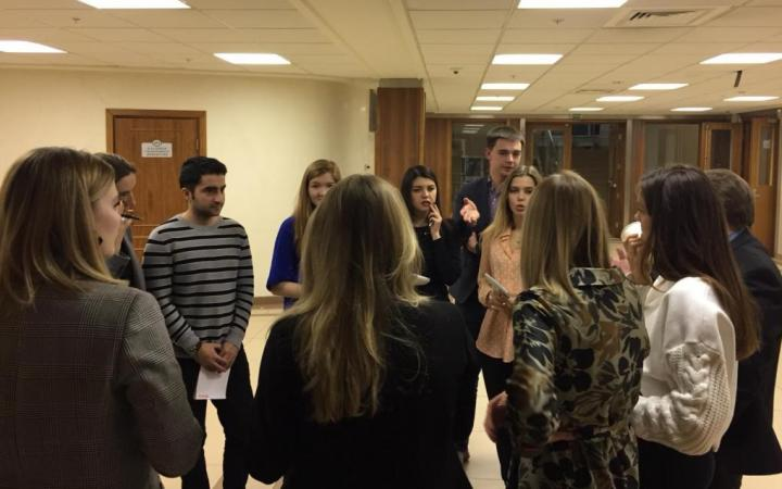 Students from MGIMO-University preparing for a negotiation simulation exercise.