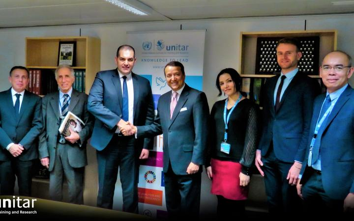 From left to right: Ms. Julia Genth, UNITAR Project Coordinator, Mr. Mehdi Bendimerad, FCE Vice-President, Mr. Mohand Cherifi, UNITAR Senior Adviser, Mr. Mohamed Sami Agli, FCE President, Mr. Alex Mejia, UNITAR Division Director, Ms. Sarah Bencherif, UNITAR Project Coordinator, Mr. Sebastian Hofbauer, UNITAR Programme Coordinator, Mr. Michael Adalla, UNITAR Specialist.