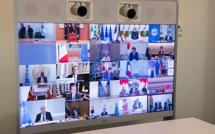 A view of the screen in the Secretary-General António Guterres' conference room as he takes part in the extraordinary Virtual Leaders' Summit of the Group of Twenty (G-20) on the Covid-19 Pandemic.