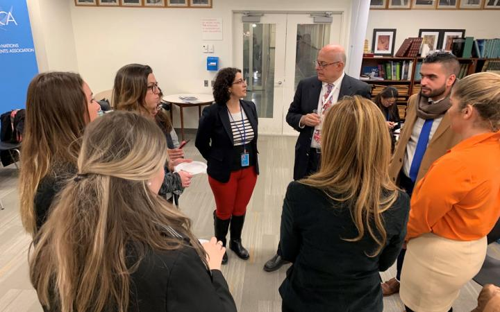 UNITAR Global Diplomatic Initiative Trainees conversing with professors and panelists before going on a tour of the United Nations