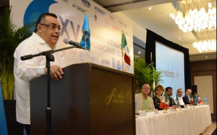Mr. Hector Navarrete, Executive Director of CIFAL Merida and Director of ASUR, during the opening ceremony.
