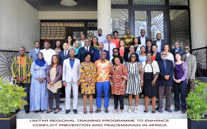 Participants, resource persons and UNITAR staff at the Regional Training Programme to Enhance Conflict Prevention and Peacemaking in Africa