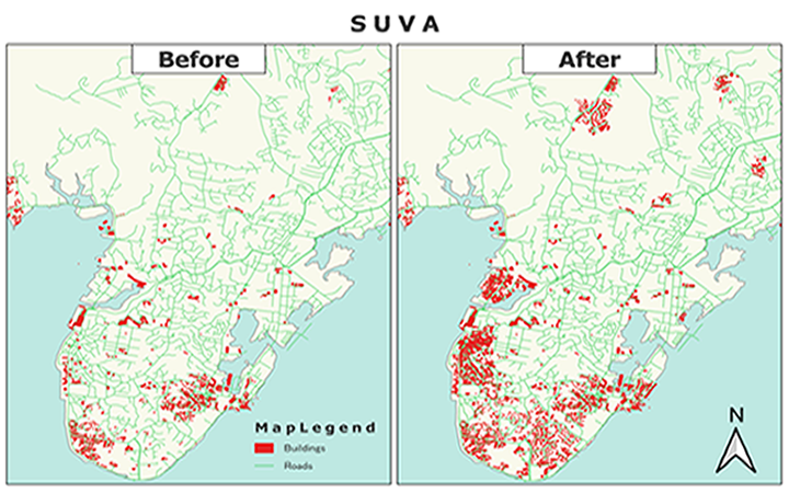 Increased numbers of mapped buildings and roads in Suva, Fiji.