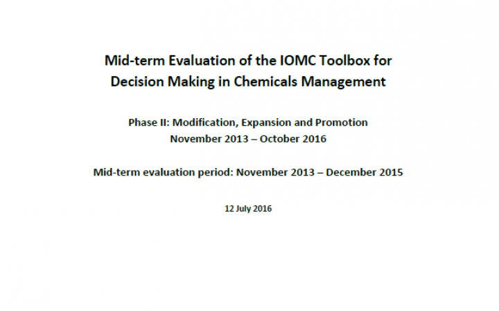 Mid-term Evaluation of the IOMC Toolbox for Decision Making in Chemicals Management