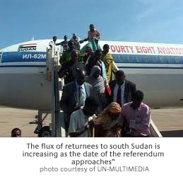 "the flux of returnees to south Sudan is increasing as the date of the referendum approaches"" photo courtesy of UN-MULTIMEDIA"