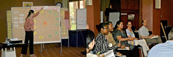 Photo 1: A senior trainer leads group discussions on NAP stakeholder mapping through the use of guiding questions. Photo 2: A group of trainees engages in active discussions on NAP stocktaking processes.