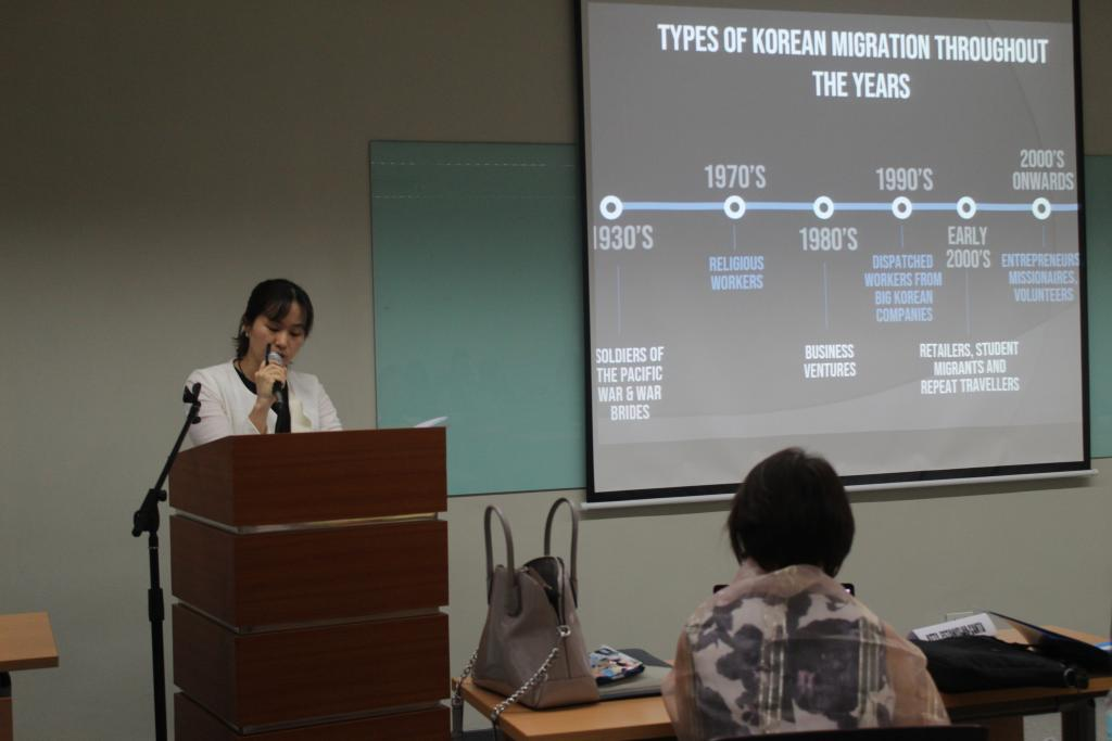Third Secretary of the South Korean Embassy, Lee Tae speaking at the Conference South Korea migration to Philippines
