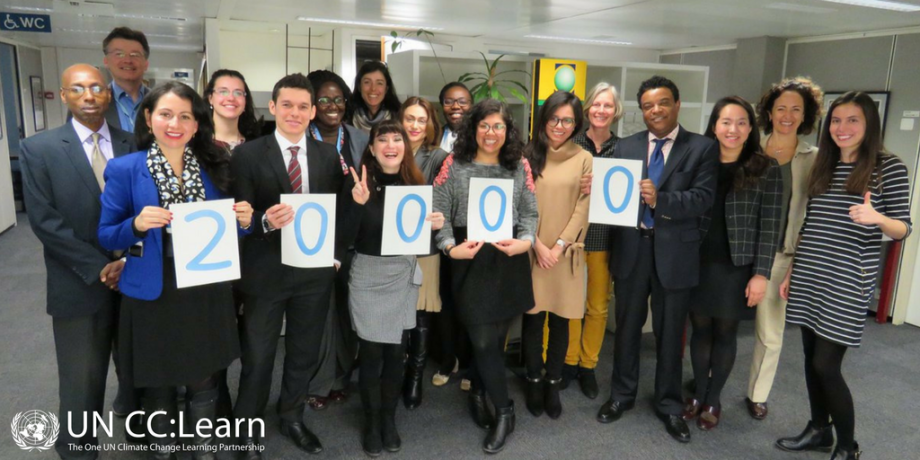 Participants celebrated the issuance of the UN CC:e-Learn 20,000th certificate.
