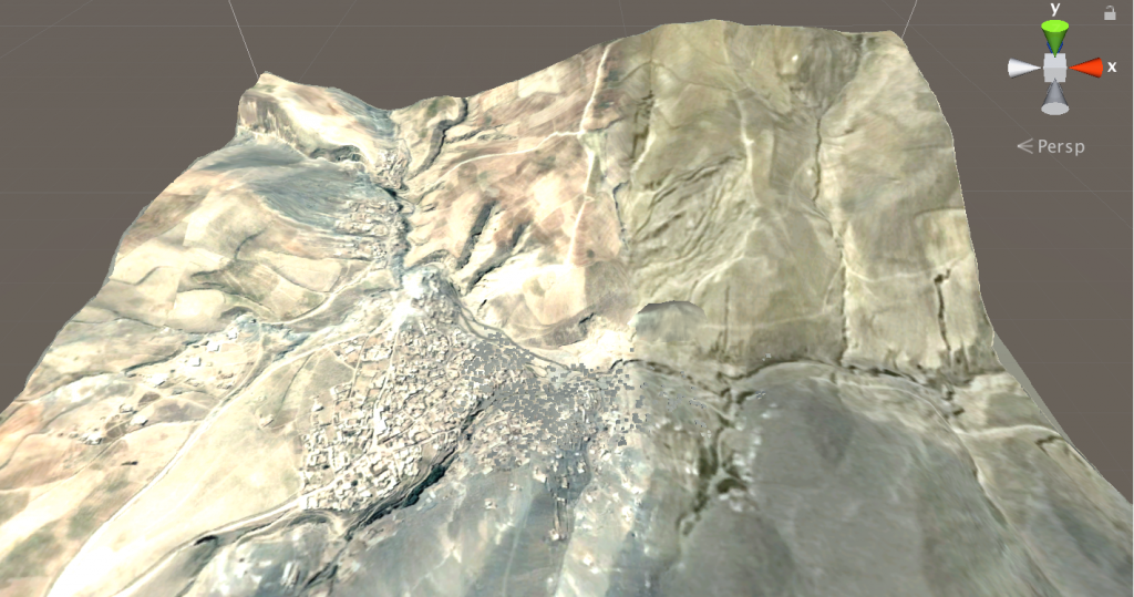 Screenshot of a 3D model of terrain after the Ab Barak landslide, Afghanistan