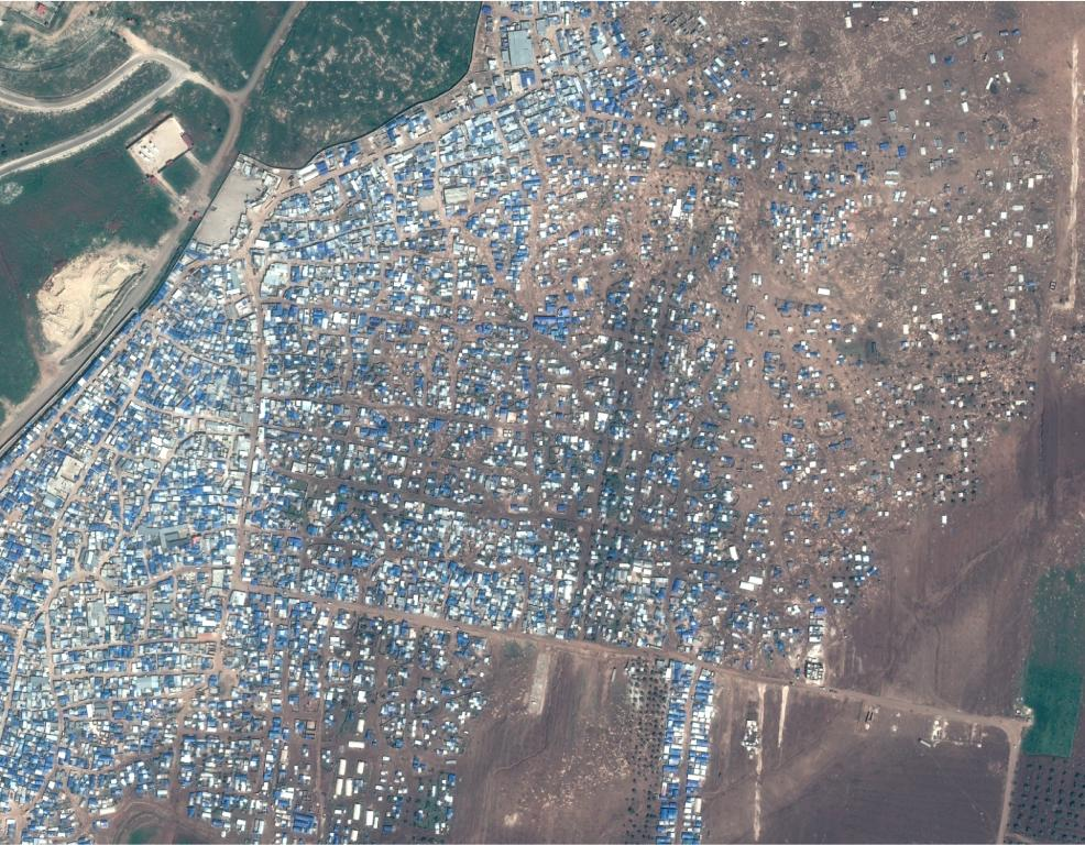 Close-up view of the Atmeh IDP camp in Idlib Governorate (Syria), one of the areas analyzed by UNOSAT (© CNES (2017), Distribution AIRBUS DS)