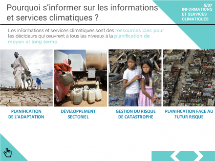 The e-Tutorial on Climate Information and Services in French