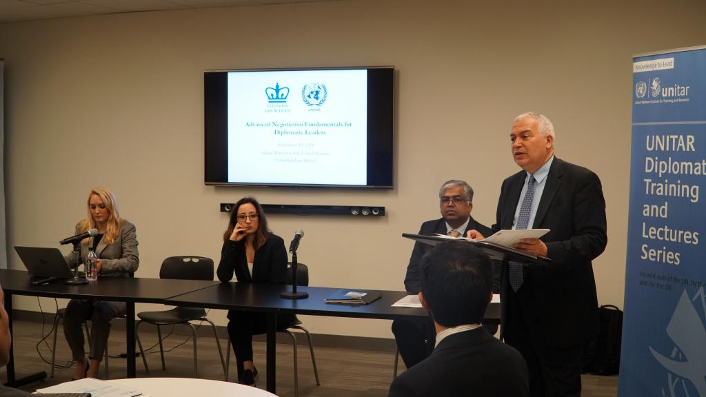 Head of UNITAR New York Office Mr. Marco Suazo opening the induction course for the Qatari diplomats. Photo: UNITAR.