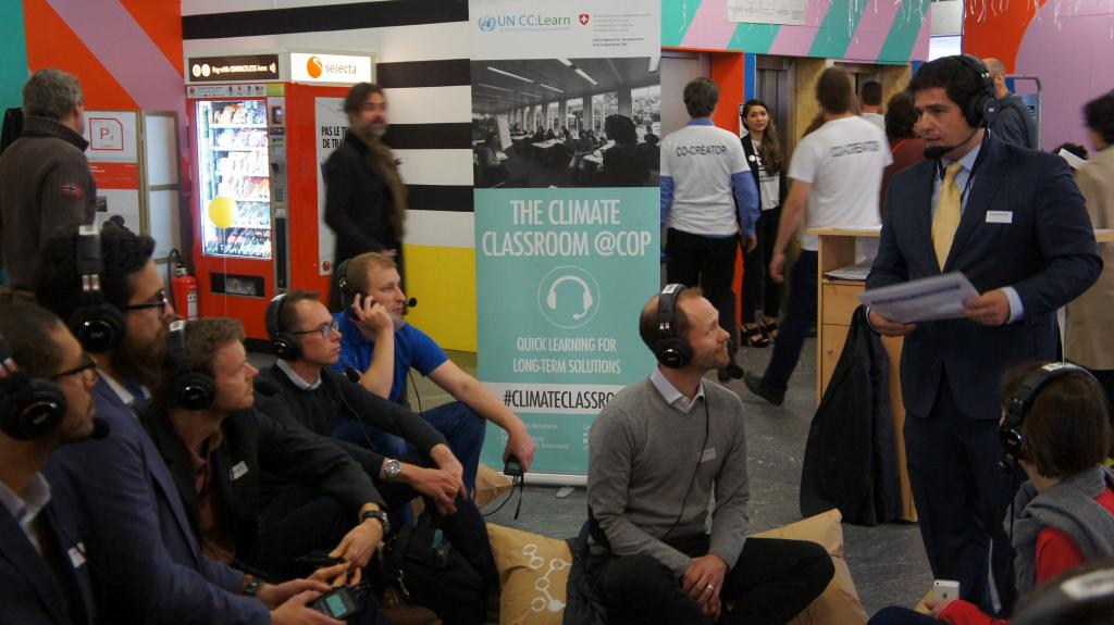Participants listen and contribute to the classroom via professional sound-proof headsets.