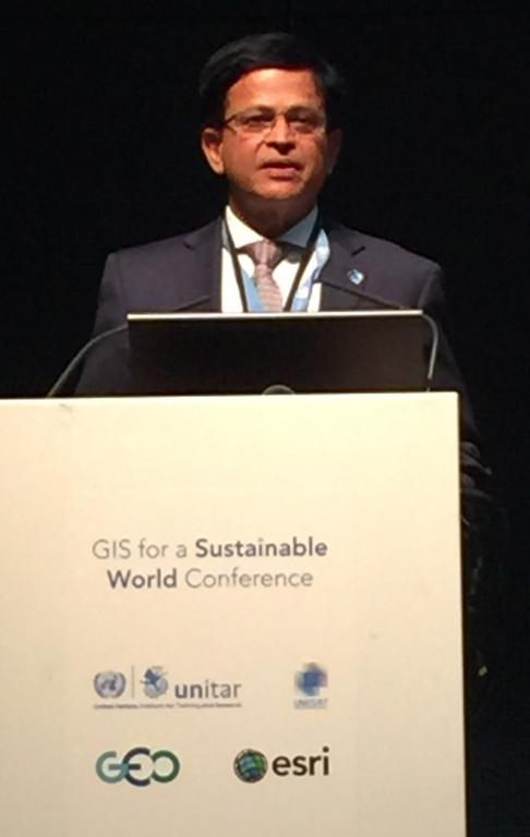 Mr. Nikhil Seth, UNITAR Executive Director at the GIS for sustainable world conference