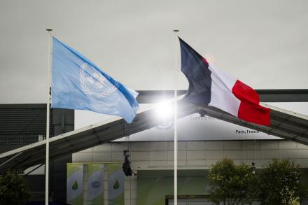 UN and French Flags Flying at COP21 Venue, Paris