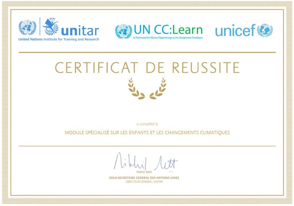 Certificate of completion for the Specialized e-Learning Module on Children and Climate Change in French.