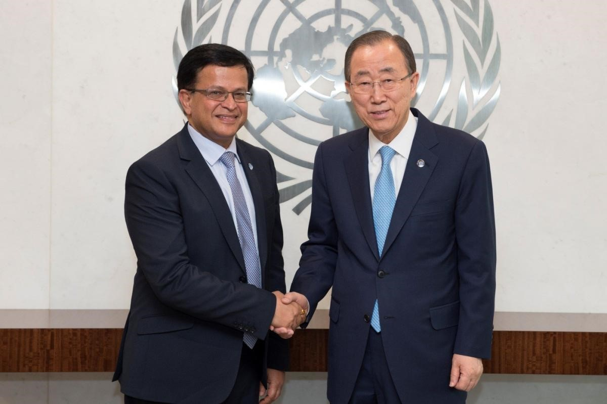 UNITAR Executive Director, Nikhil Seth, and the United Nations Secretary-General, Ban Ki-moon