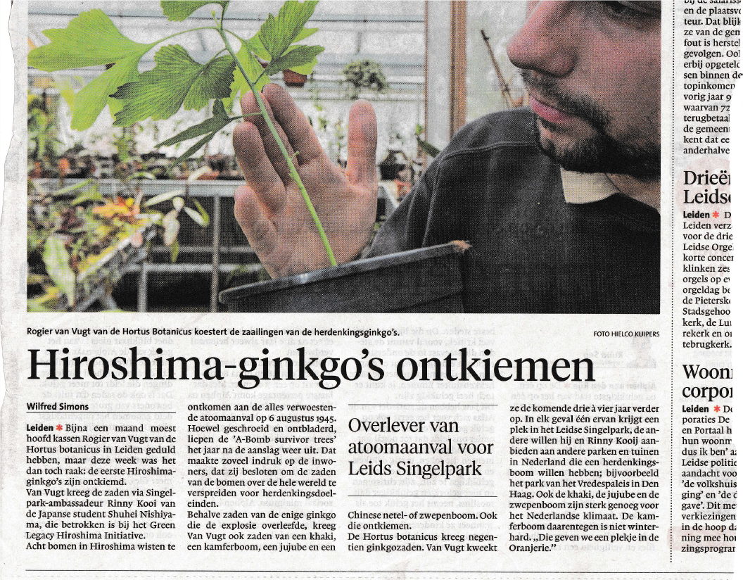 Leiden Botanical Garden newspaper article
