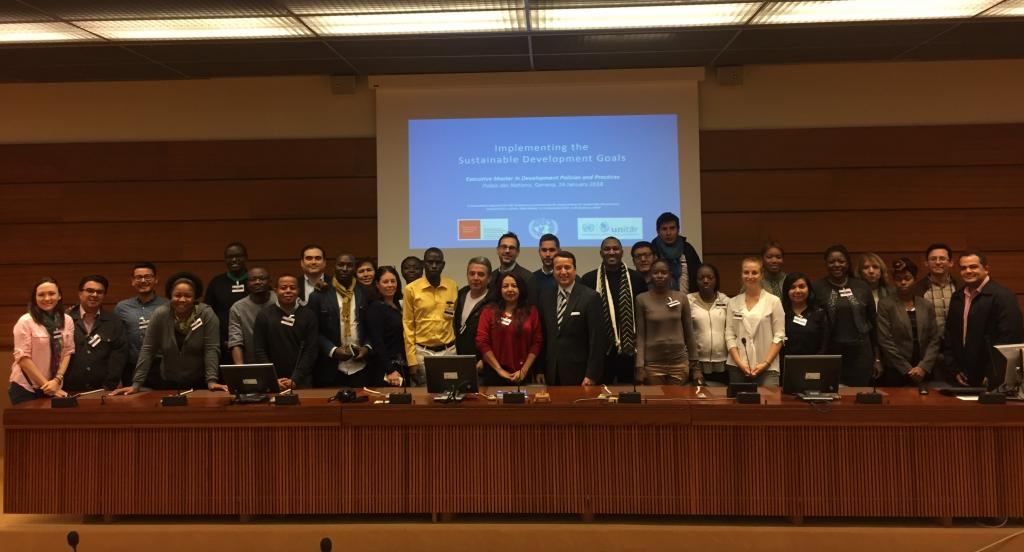 Mr. Alex Mejia from UNITAR, and Dr. Alexandre Freire Dormeier and Mr. Bruno Medroa from the Graduate Institute, alongside students from the Executive Master in Development Policies and Practices, at the Palais des Nations on 24 January 2018.
