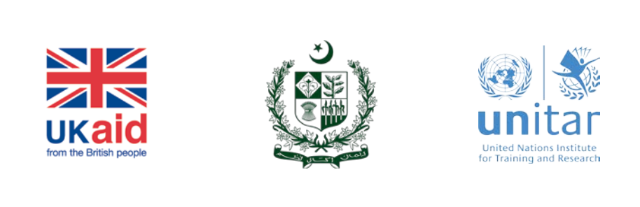 The logo of UK Aid, the Government of Pakistan and UNITAR