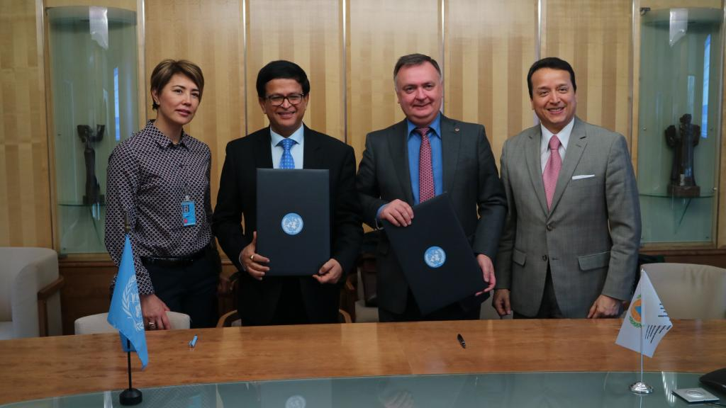: From left to right, Ms. Saltanat Tashmatova, Director of International Cooperation, ICDO; Mr. Nikhil Seth, UN Assistant Secretary General and Executive Director of UNITAR; Dr. Vladimir Kuvshinov, Secretary-General, ICDO; Mr. Alex Mejia, Programme Director, UNITAR