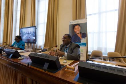 Ambassador of the Permanent Mission of the Republic of Malawi to the United Nations and other international organizations in Geneva encouraging students to think about how we can all collectively make this world a better place.