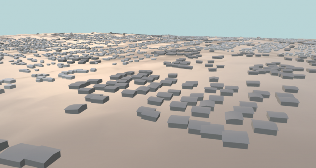 Screenshot of a 3D model of Al Zaatari refugee camp, developed by UNOSAT